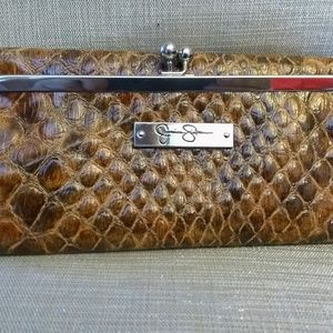 Jessica Simpson Brown Snake Print Wallet Clutch